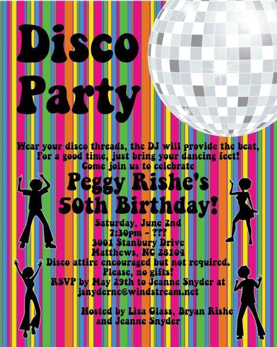 disco dance party invite discoparty party pinterest id es de f te organisation. Black Bedroom Furniture Sets. Home Design Ideas