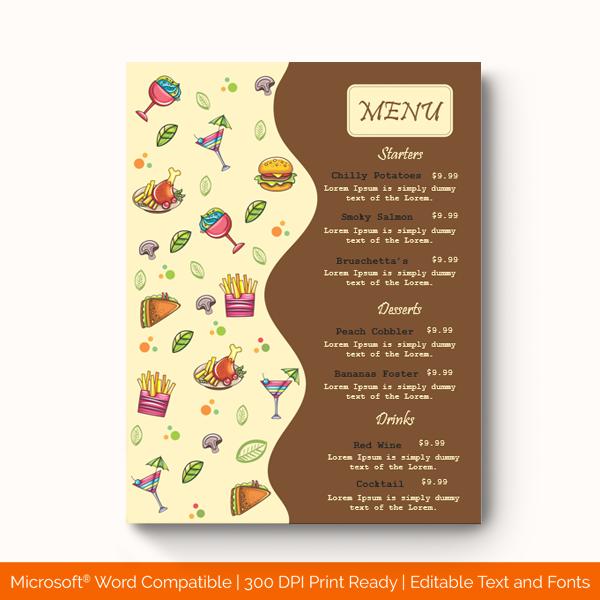 Dinner Menu Template Bown 1967 Doc Formats Menu Template Menu Card Template Menu