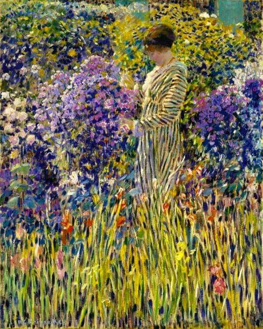 Lady in a garden, by Frederick Carl Frieseke (American, 1874-1939).