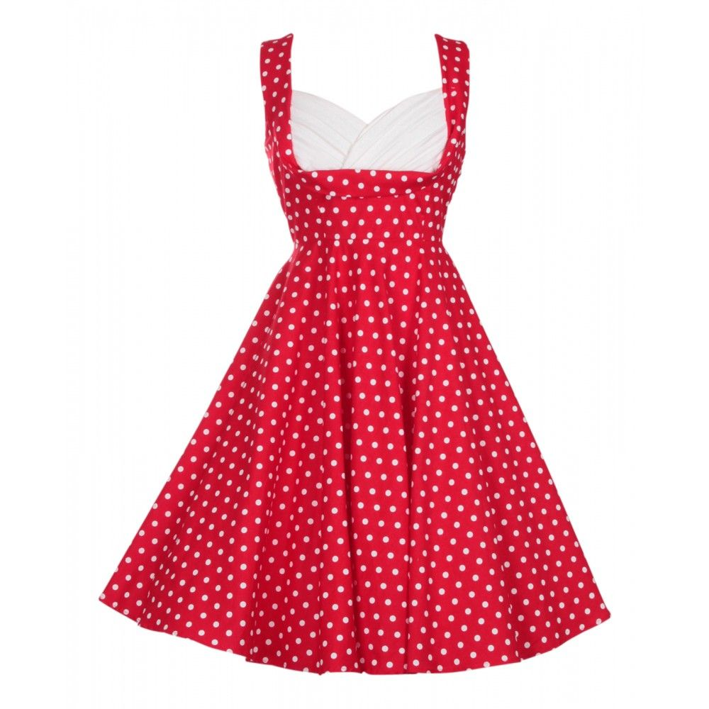 Grace Pleated 50's Style Swing Dress Red Polka Dots