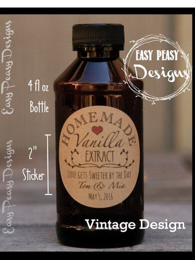 Date Vanilla Extract Labels Personalize: Write In Liquor 8 P Bean