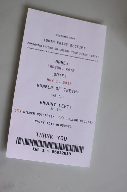 Pin by Linda R on Kid's Activities | Tooth fairy receipt