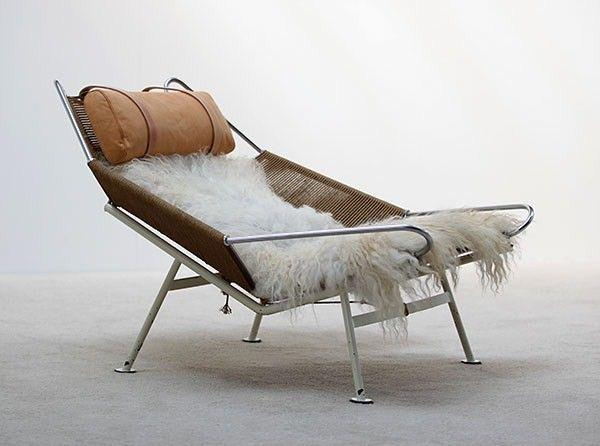 "Hans Wegner "" Flag Line "" Halyard Lounge Chair, Denmark, circa 1960's."