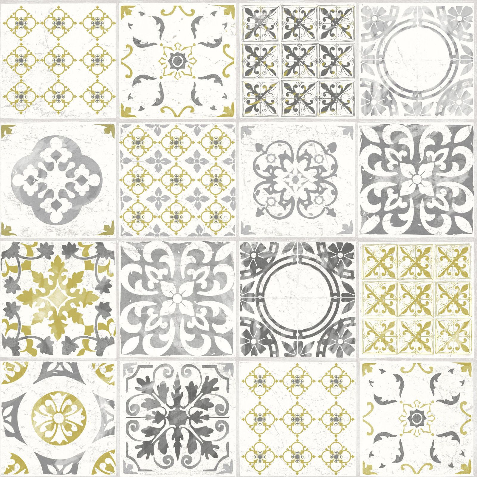 Grandeco Wallpaper Luxury Porto Tile Moroccan Tile