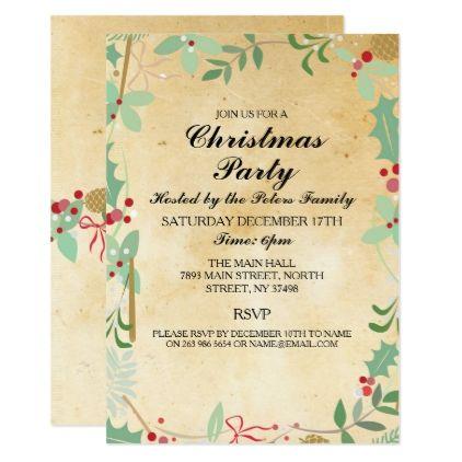 Rustic Winter Xmas Foliage Christmas Party Invite - #saturday