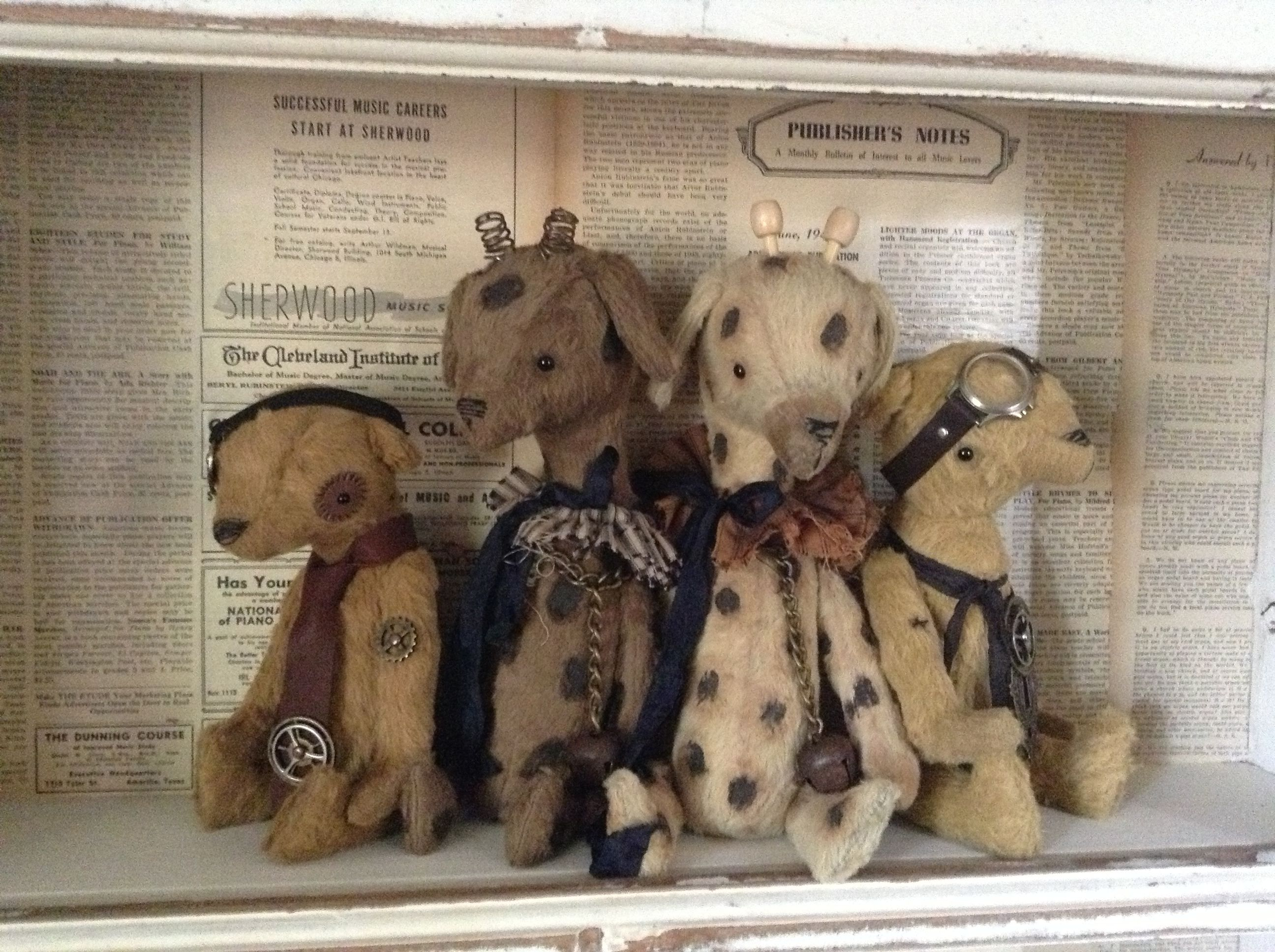 steam punk friends and a couple of giraffe's made by olive grove primitives