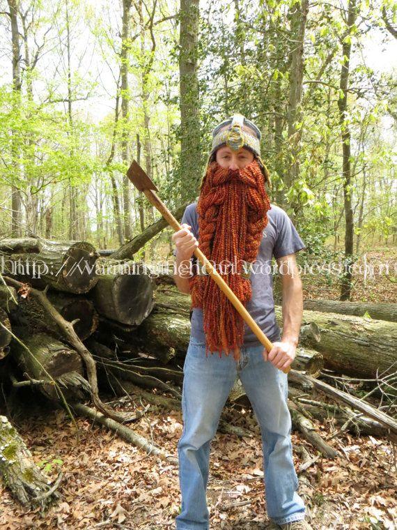 Crochet PATTERN - Gimli Inspired Helmet and Beard LOTR | Dwarven Helmet | Crochet Beard | Viking Helmet #crochetedbeards