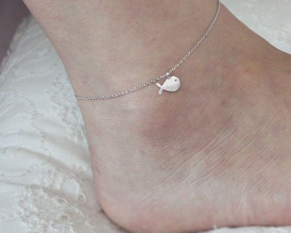 tiny whale anklet by LaSenada on Etsy