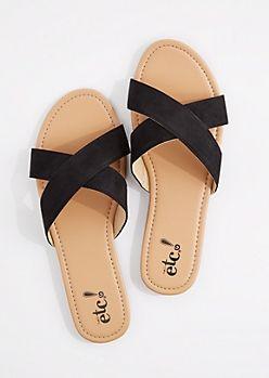 5b7a05aa2 Black Faux Suede Cross-Strap Flip Flop Trendy Sandals