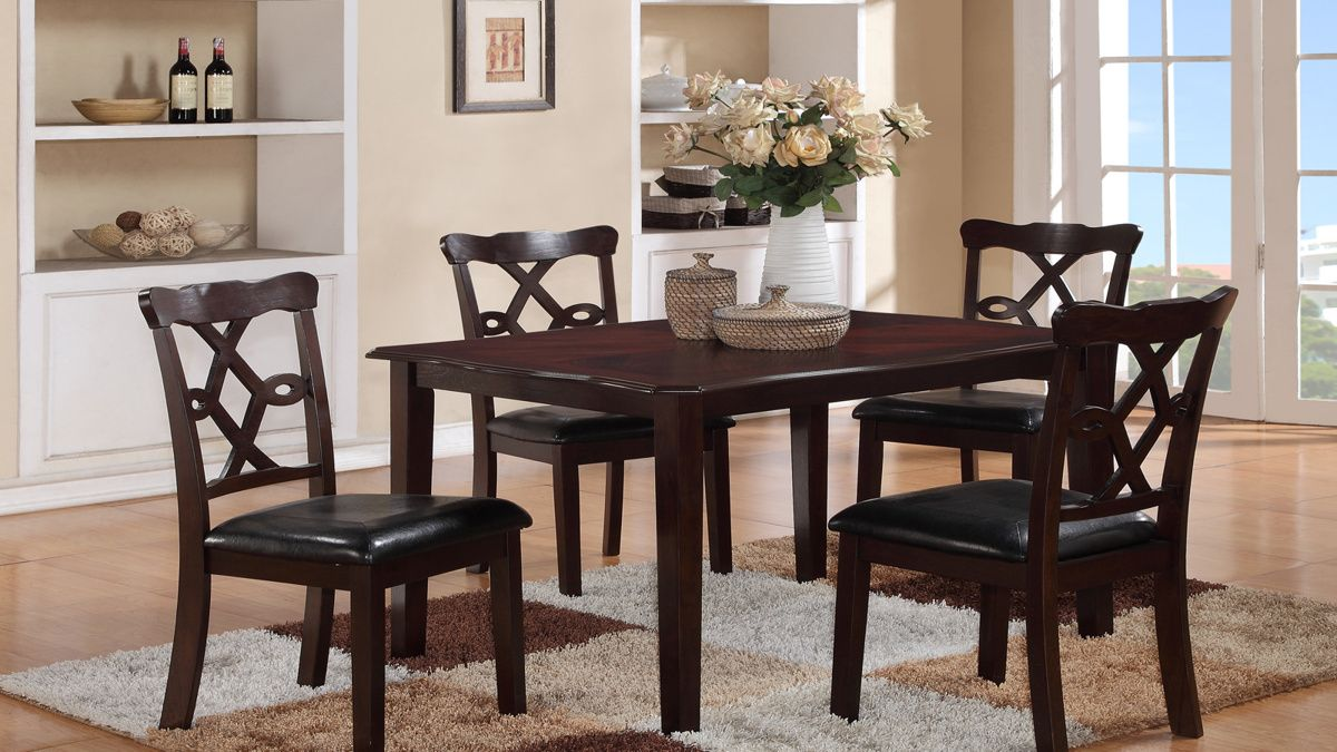 Copper Dark Brown Black Wood Dining Room Set   By Cosmos Furniture