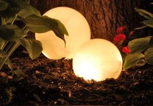 Outdoor light orbs made with thrift store finds