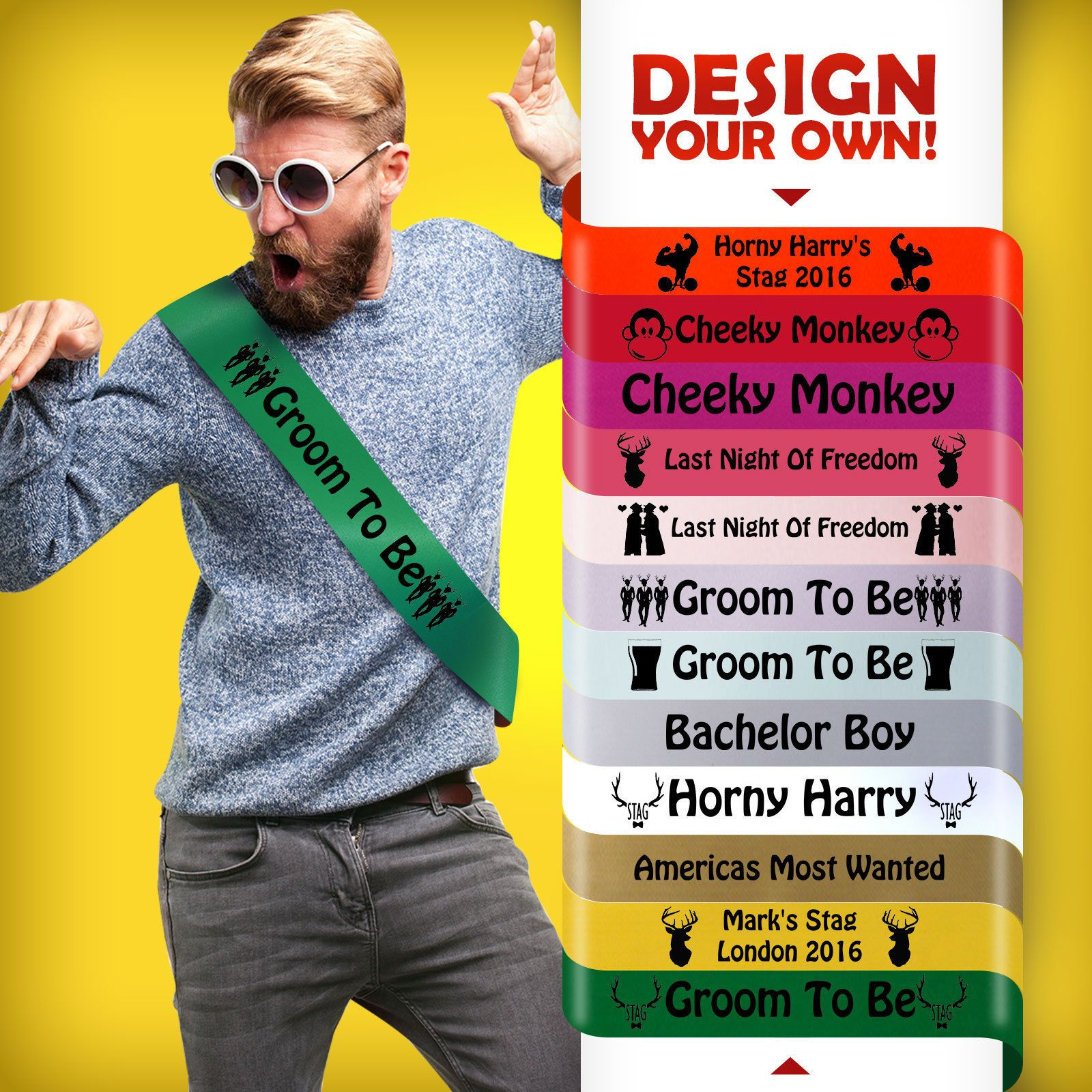 Personalised Party Sash Perfect for Birthday Stag and Hen Parties
