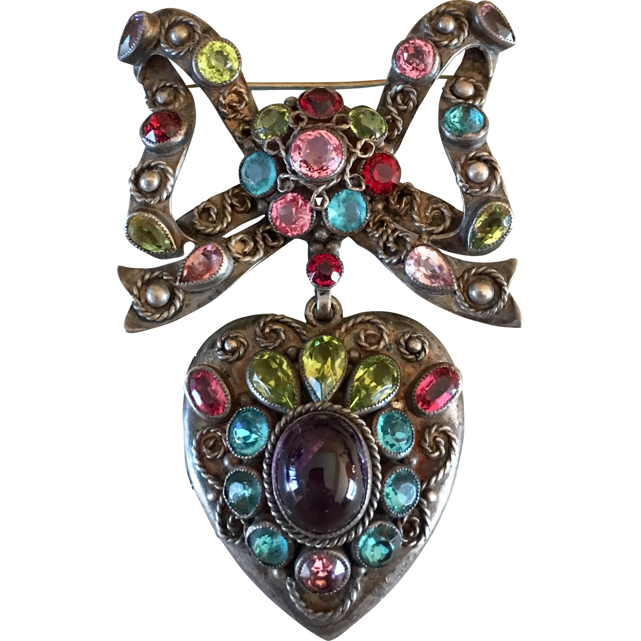 worn bead ysl laurent metal fantasy jewel saint and pour goossens as yves pend pendant gilt brooch