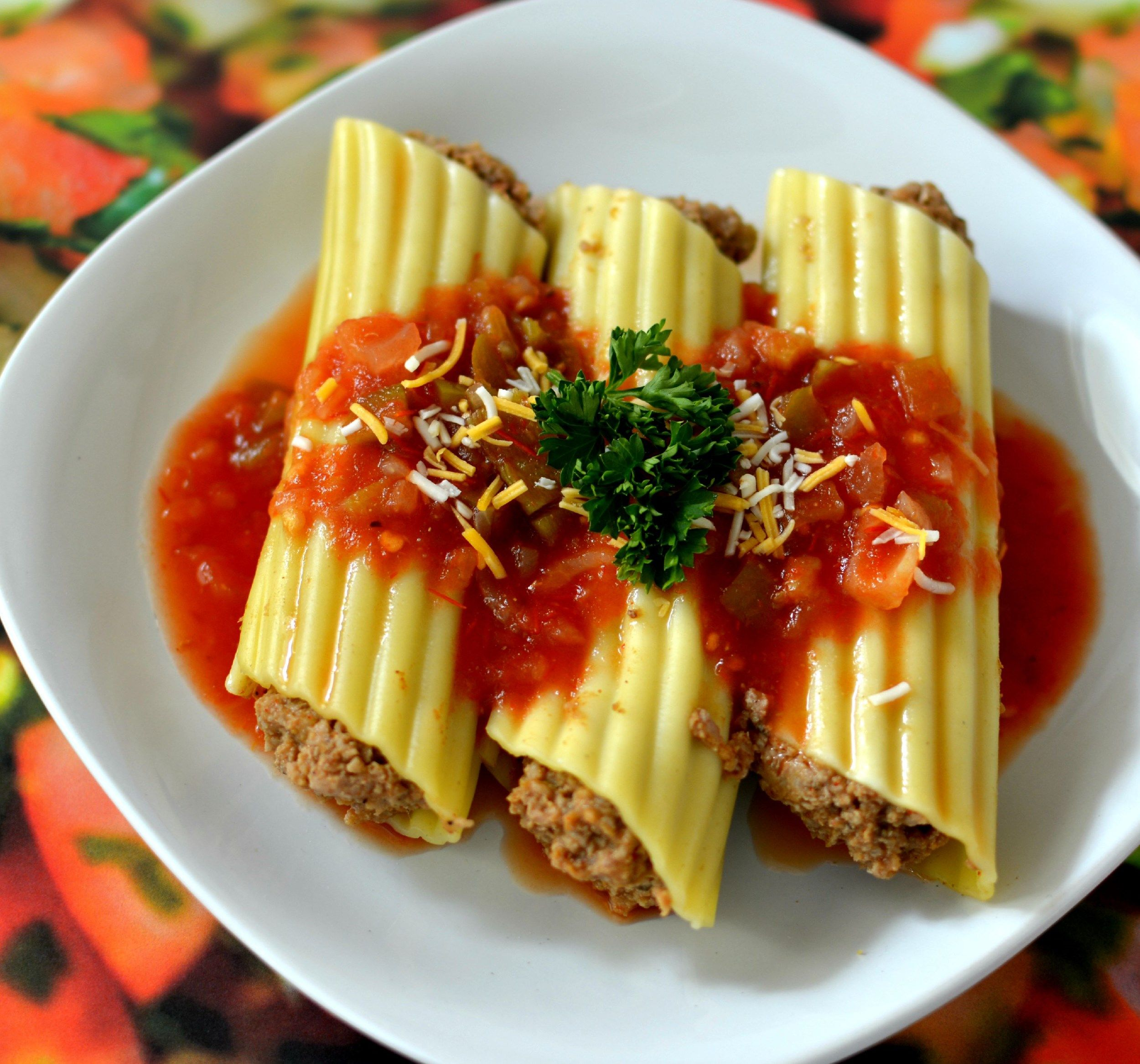 Microwave mexican manicotti fill manicotti shells with for Italian meals