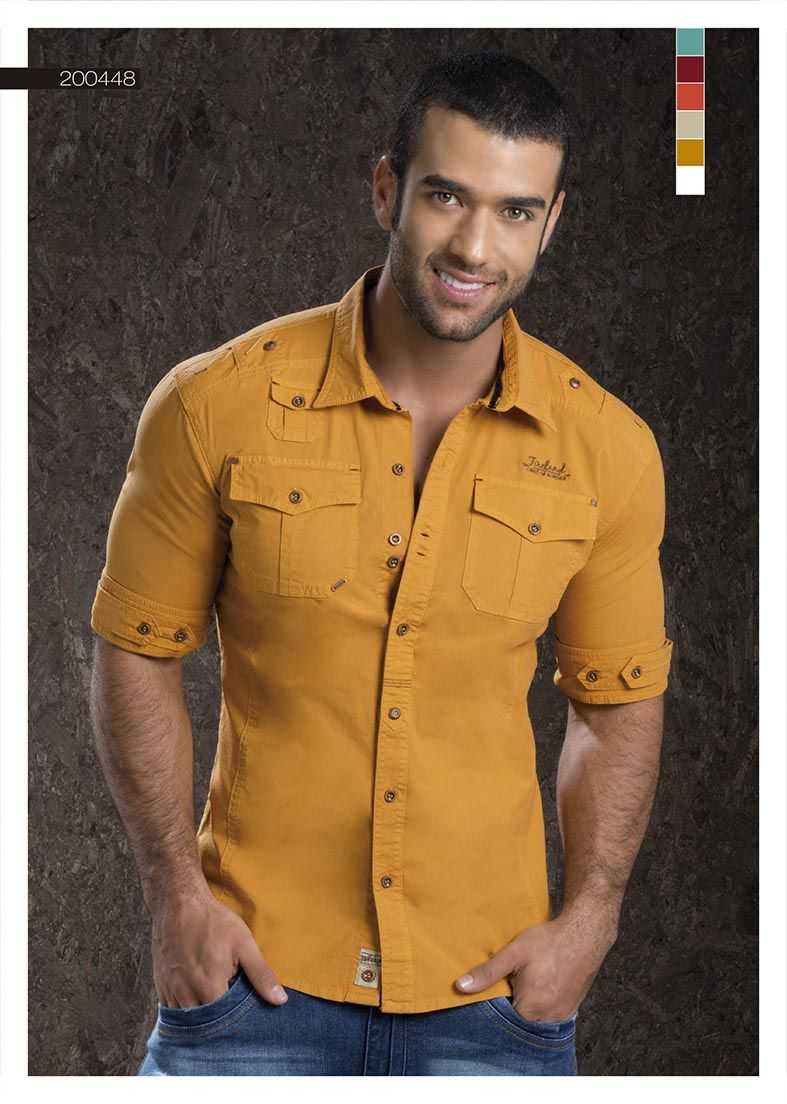 486a2ad12e6 Camisa-para-hombre-color-mostaza-manga-tres-cuartos - mustard-shirt-for-men-  three-quarter-sleeves Sexy