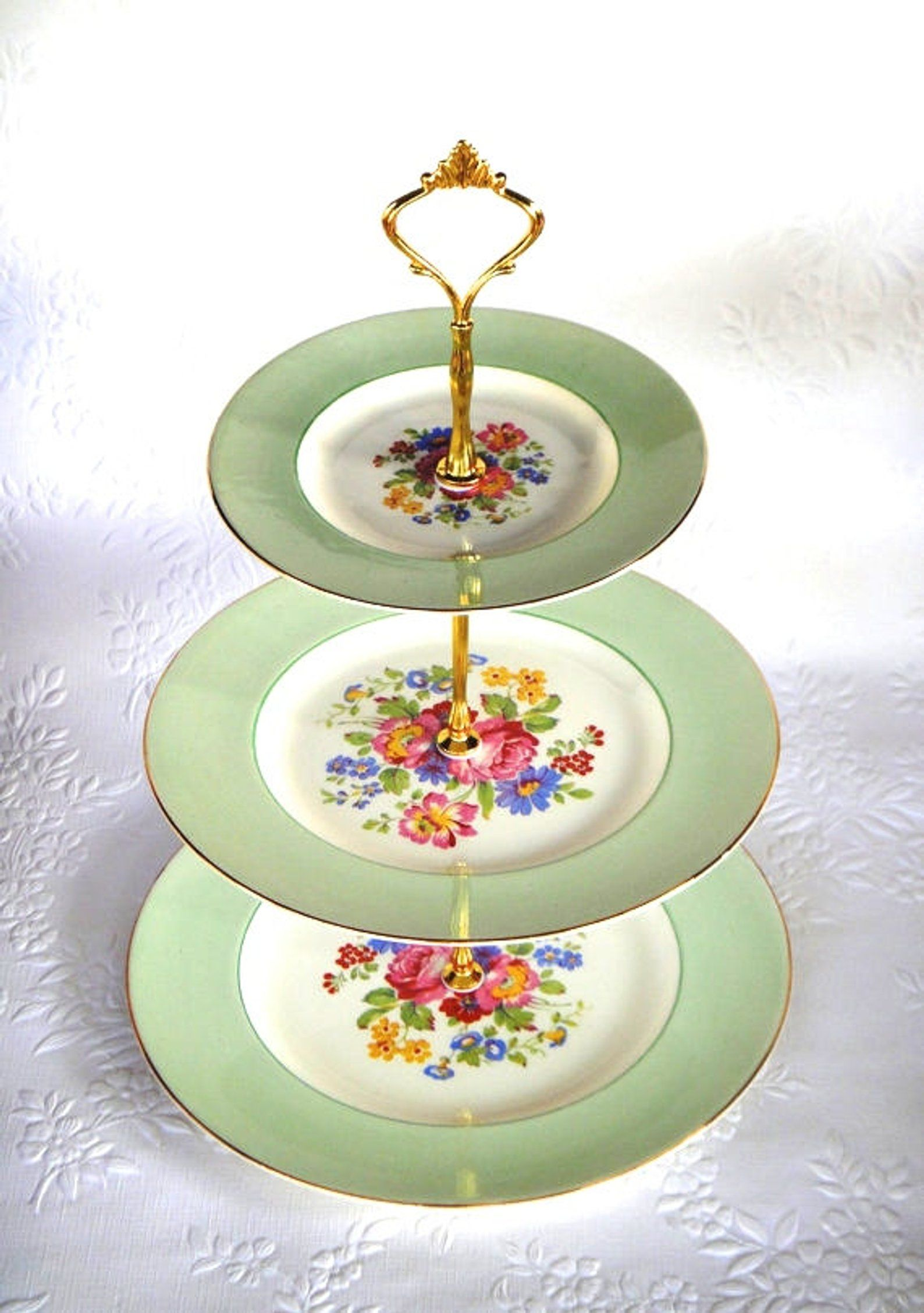How To Make A Vintage 3 Tier Cup Cake Plate Wedding Stand Diy Kit Instructions Drill Bit Heavy Crown Handle Fitting Hardware Cake Plates Vintage Cake Stands Tiered Cake Stands