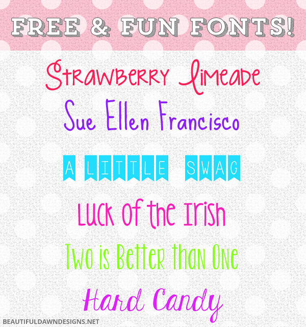 Free and Fun Fonts || BeautifulDawn ~~ {6 free fonts w/ easy download links}