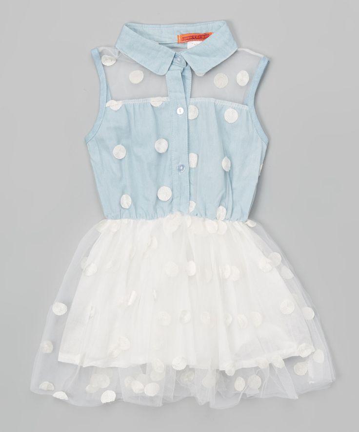 Blue Polka Dot Shirt Dress - Toddler & Girls