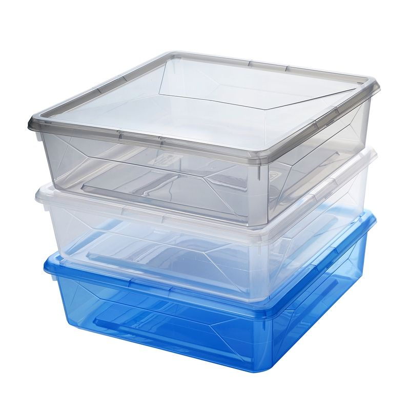 Ezy Storage 6l Blue Karton Storage Container With Snap On Lid Cube Storage Unit Wooden Shoe Racks Floating Wall Shelves