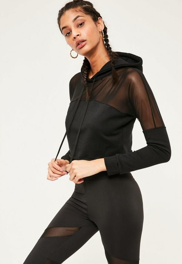 f61b58c65d133 Go all out with your workout in this black hoodie with luxe mesh panel  inserts for a breathe easy feel!