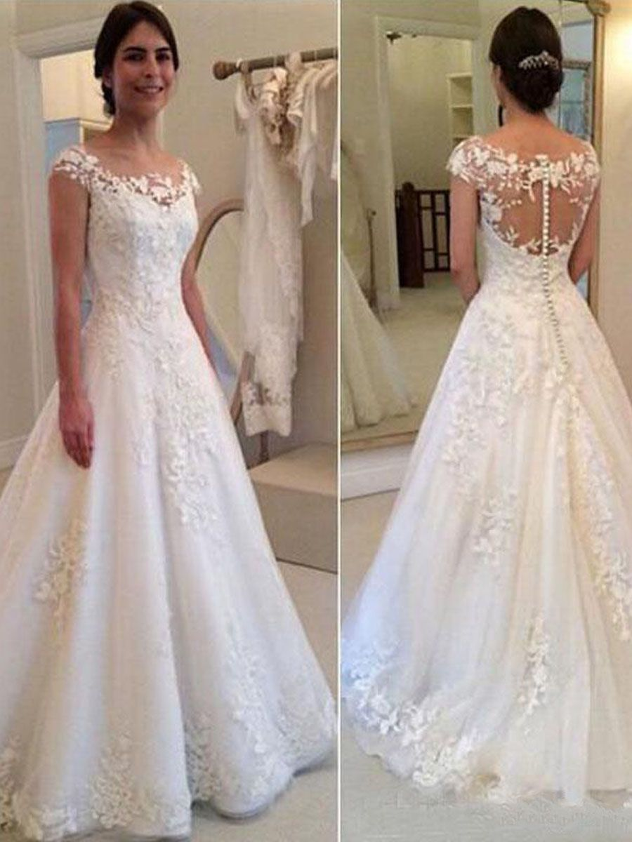 A Line Lace Wedding Dresses Bridal Gowns 20   Rustic wedding ...