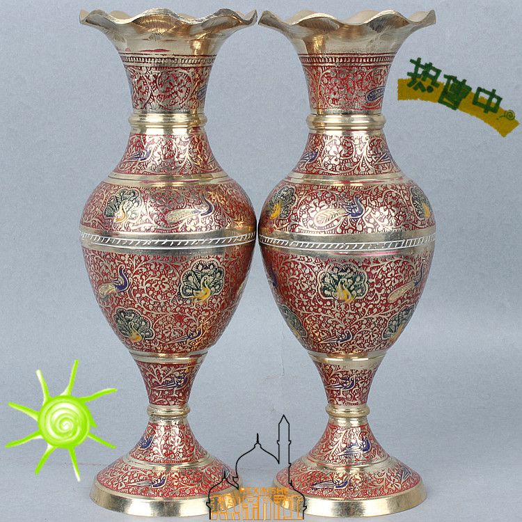 India Pakistan Arts And Crafts Import Bronze Vase Flower Mill Red Festive Decoration Home Furnishing Festival Decorations Bronze Vase Flower Vases