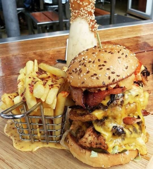 Huge Chicken Bacon Cheeseburger From Demazzi Stone Grill