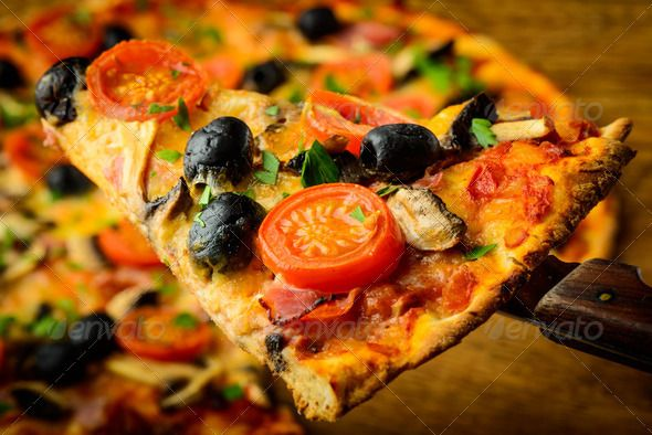 pizza slice ...  baked, closeup, cuisine, delicious, detail, food, fresh, homemade, italian, mediterranean, mushrooms, olives, pizza, slice, snack, still life, tomatoes, traditional