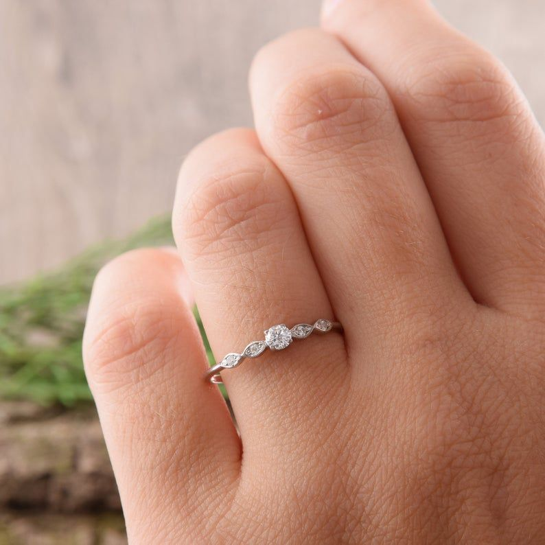 Women promise ring Tiny ring silver Promise ring for her White cz ring Delicate ring Dainty ring silver Elegant ring Minimalist ring