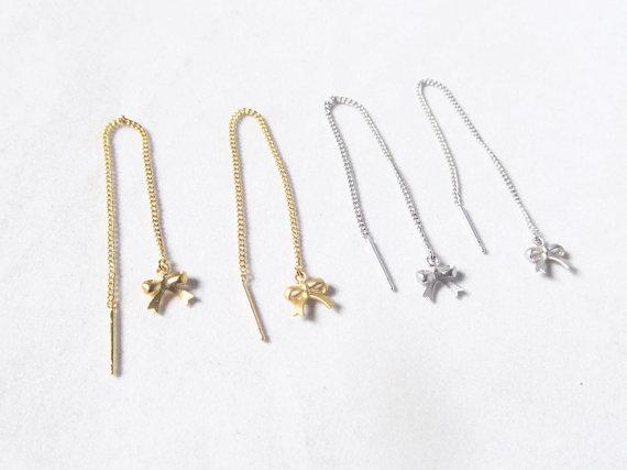 threader earrings White Howlite Gemstone Beads 925 sterling silver 125mm Long