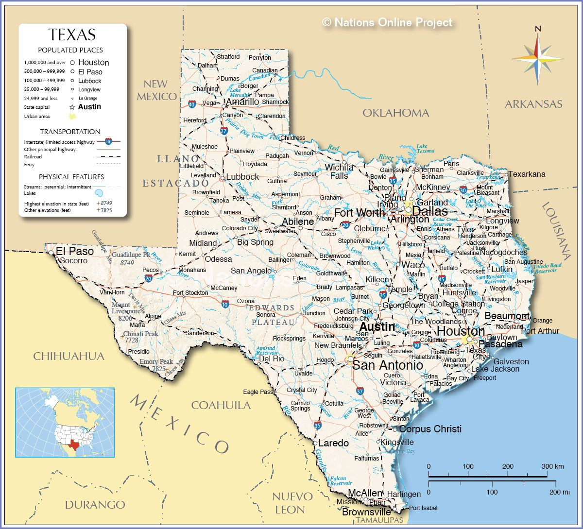 Homeschooling in texas information texas and travel info reference map of texas showing the u state of texas with the state capital austin major cities populated places highways and more sciox Gallery