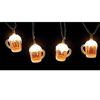 Beer Party String Lights : Our Beer Mug Lights feature ten beer mug lights with frothing heads. Each string of beer lights ...