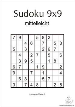 Sudoku Ratsel Mittel 9x9 Sudoku Ratsel Sudoku