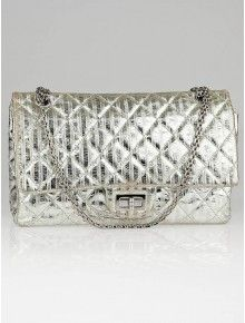 e9b0db9a21c3 Chanel Silver Metallic 2.55 Reissue Quilted Striped Leather 227 Jumbo Flap  Bag