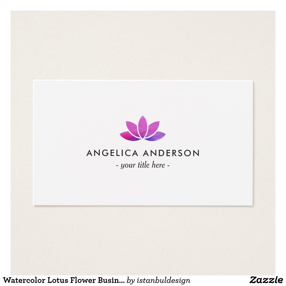 Watercolor lotus flower business card business cards and business watercolor lotus flower business card colourmoves