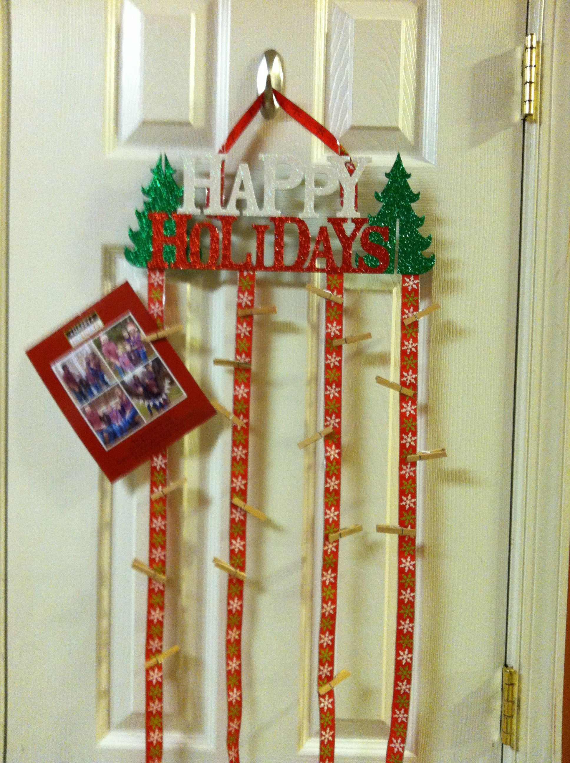 Easy Cheap Diy Christmas Card Hanger Sign From Walmart 2 Ribbon Hot Glued On And Small Cloth Christmas Card Hanger Cheap Christmas Diy Diy Christmas Cards