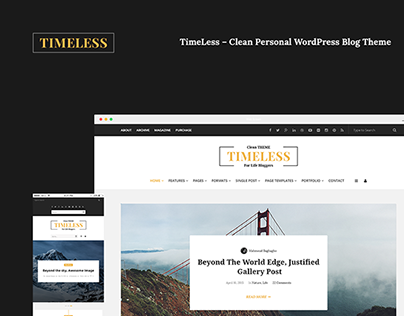 """Check out new work on my @Behance portfolio: """"TimeLess – Clean Personal WordPress Blog Theme"""" http://on.be.net/1Nkp7X7"""