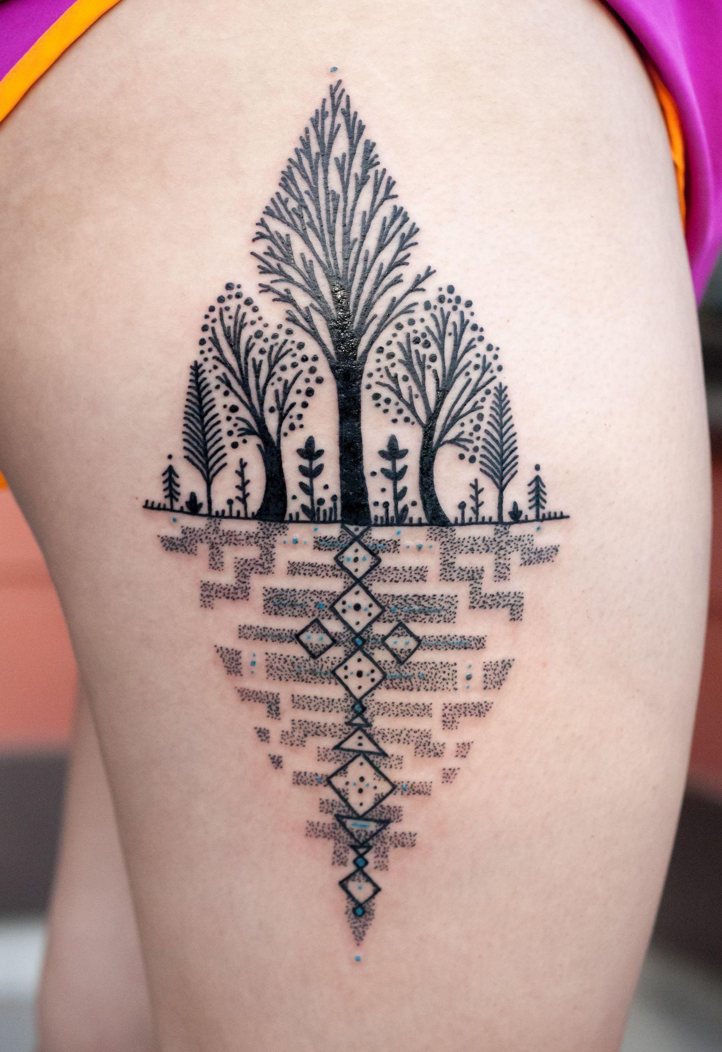Geometric Tattoos Portland: Collaboration Piece By David Hale And Kris Davidson Done