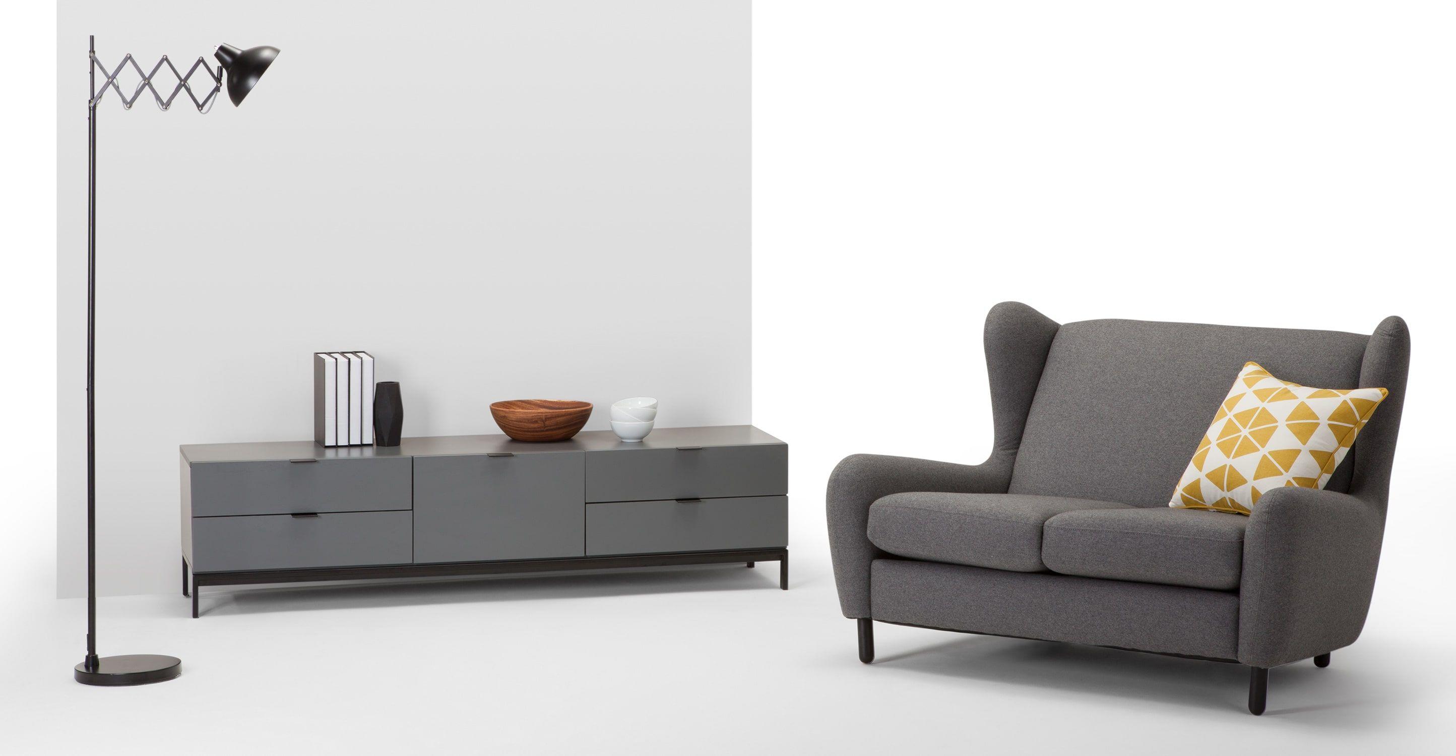 Innenarchitektur Breites Sofa Ideen Von Marcell Lowboard, Grau