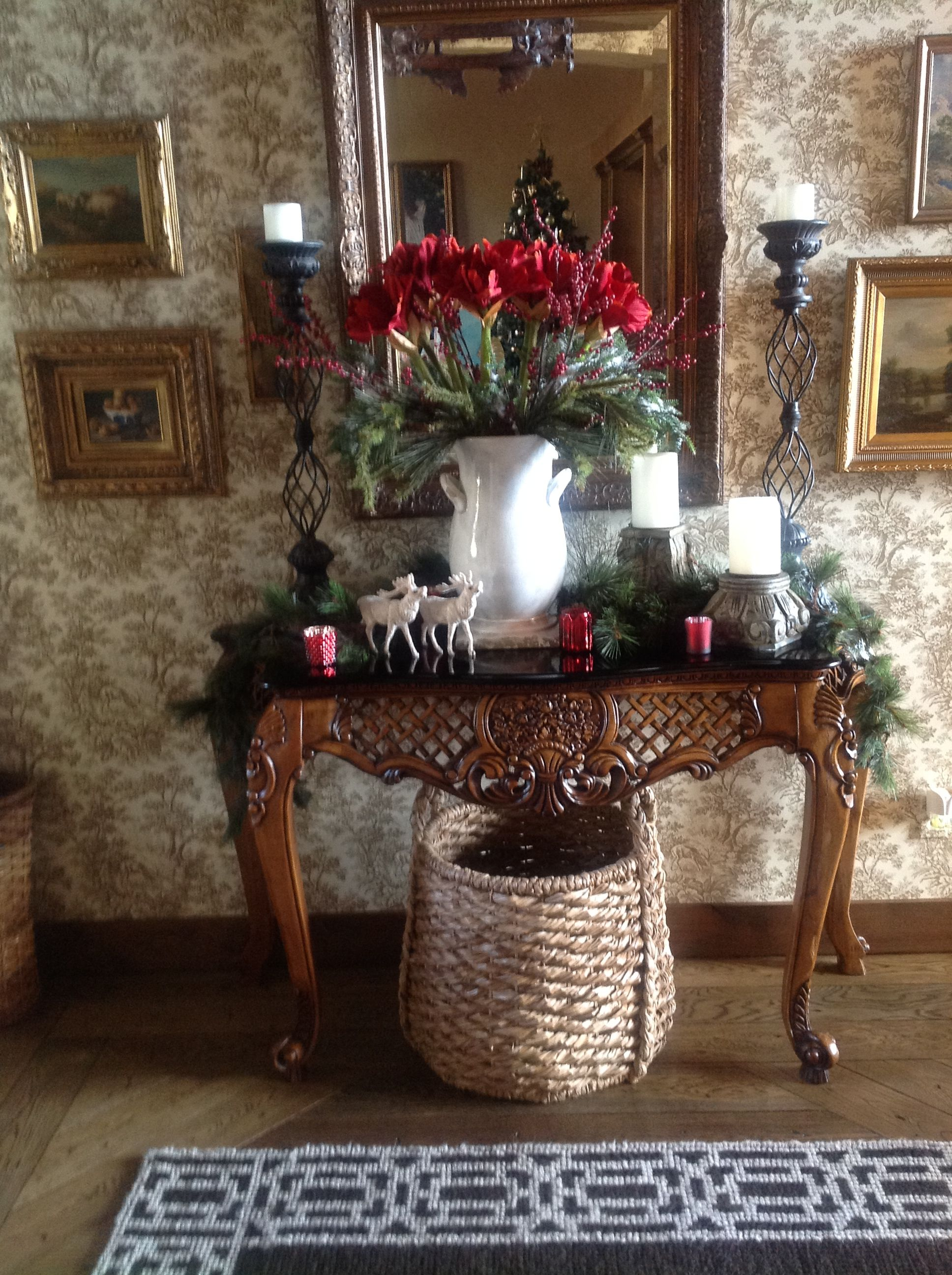 Christmas Tables Decorated Foyer Table Decorated For Christmas The Most Wonderful