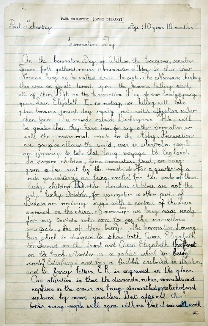 paul mccartney ten years old essay original manuscript paul mccartney ten years old essay