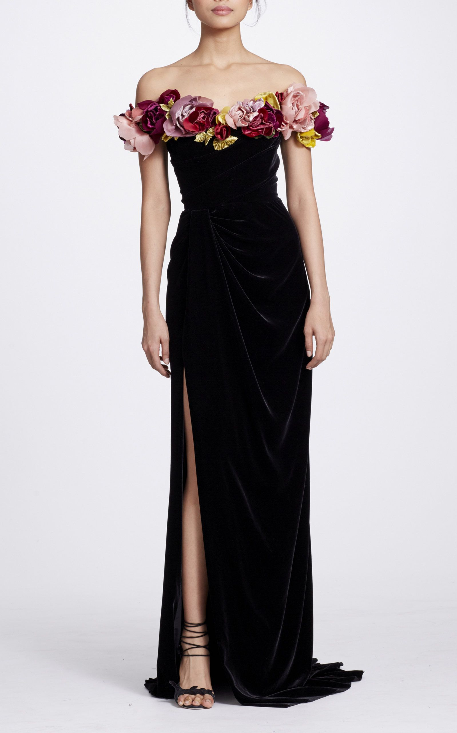 Velvet off the shoulder gown by marchesa for preorder on moda