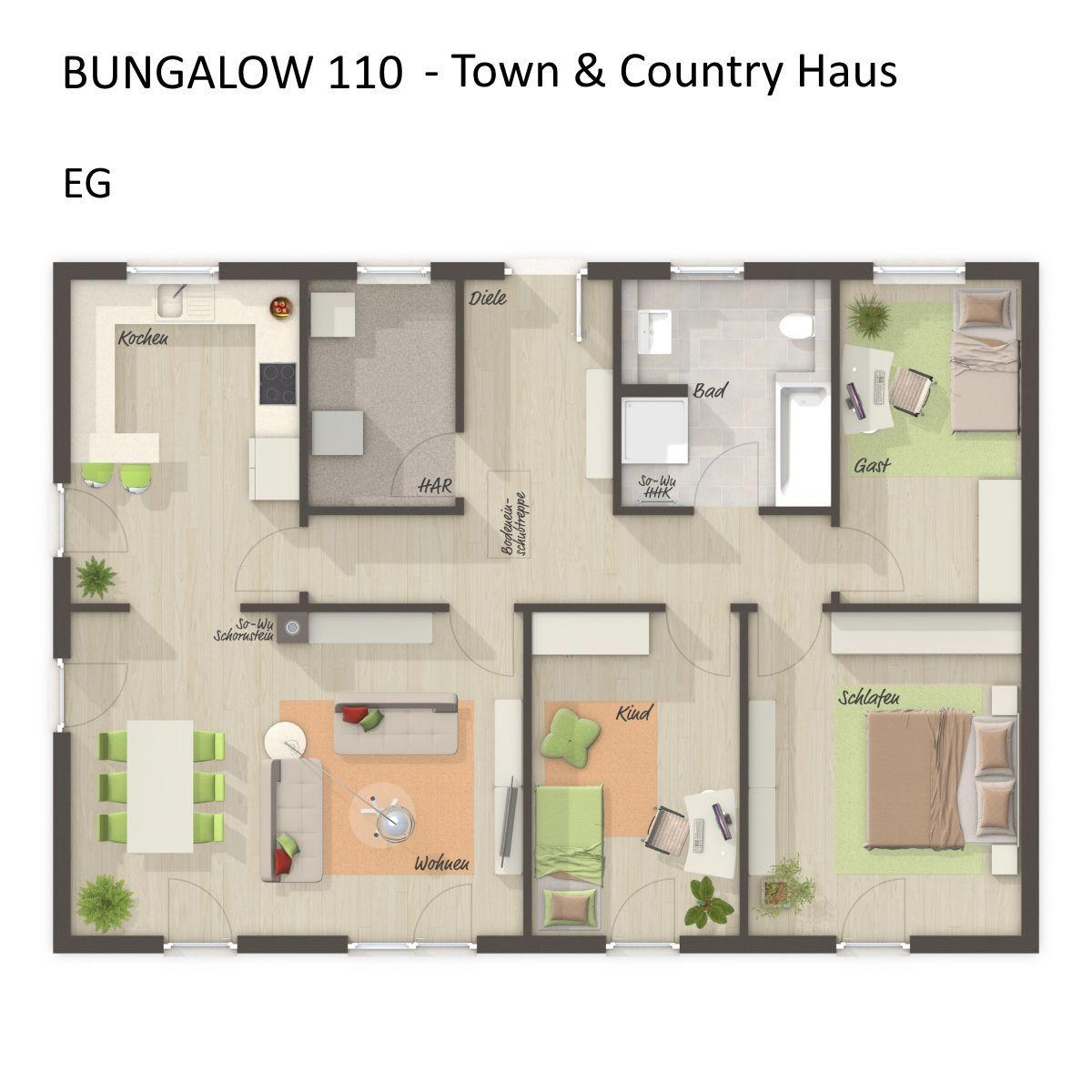 Kleiner Bungalow Grundriss Rechteckig Mit Walmdach Architektur 4