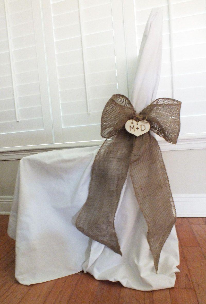 Burlap Bow Or Burlap Pew Bow Rustic Wedding Decor via Etsy.