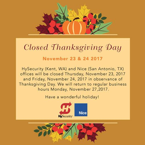 HySecurity Holiday Closure Announcement | Tradeshows and Events