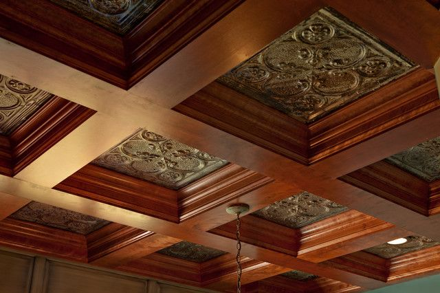 Coffered Ceiling home office with tin insets | Coffered ...