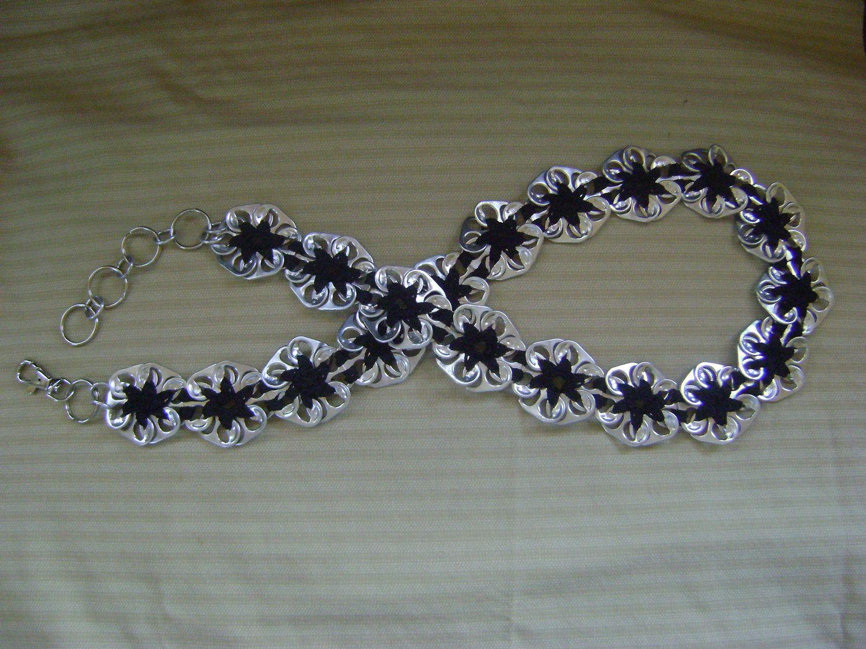 Soda pop tabs crafts - Crochet Pop Tab Pinwheel Flower Waist Hipster Belt W Swivel Lobster Clasp Accessory Black