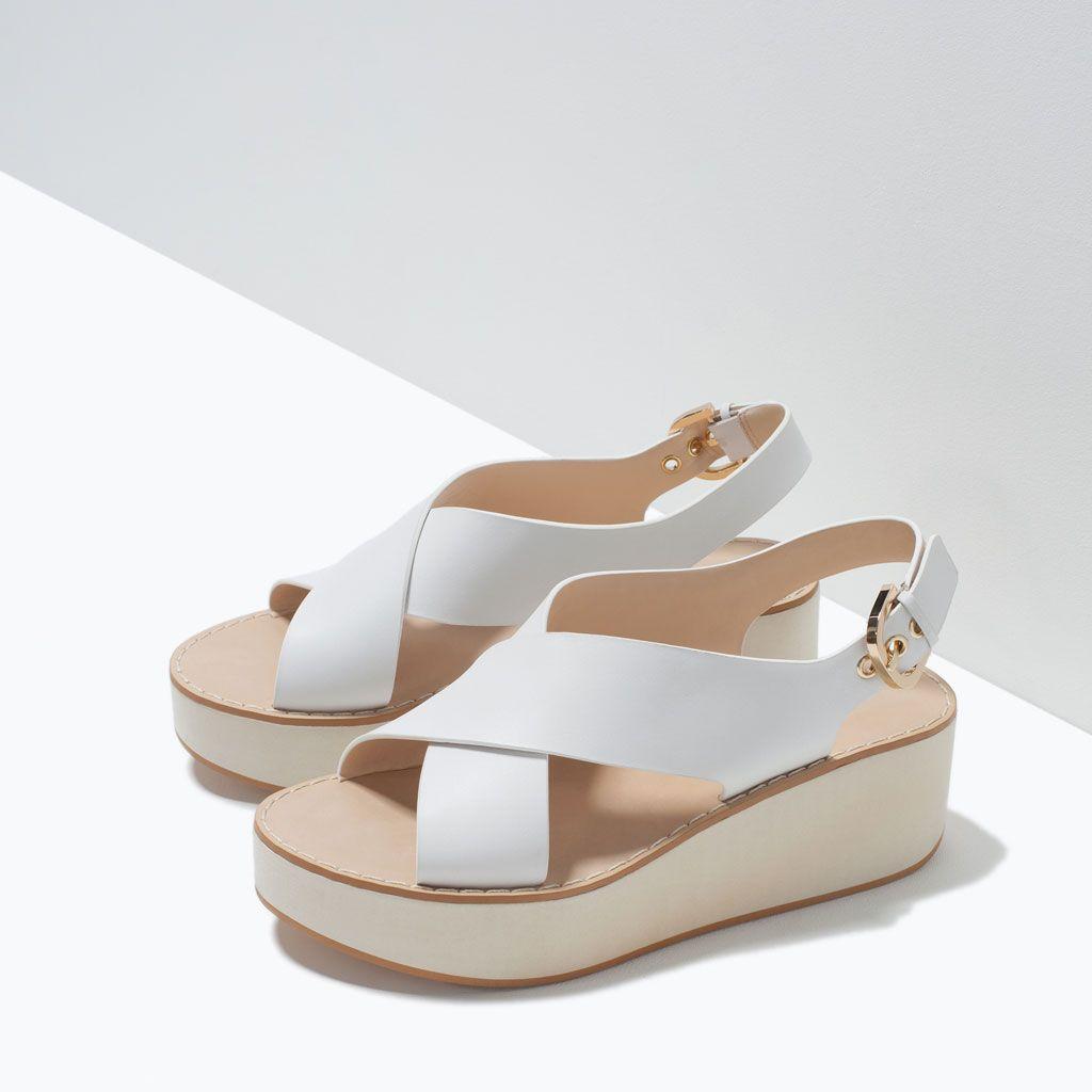 b7afbb7d814d1 Image 6 de SANDALES COMPENSÉES CROISÉES EN CUIR de Zara   chaussures ...
