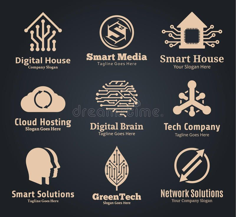 Set Of Vector Technology Network And Computer Science Logo Technology Communi Ad Computer Sc Vector Technology Visual Design Trends Network Solutions