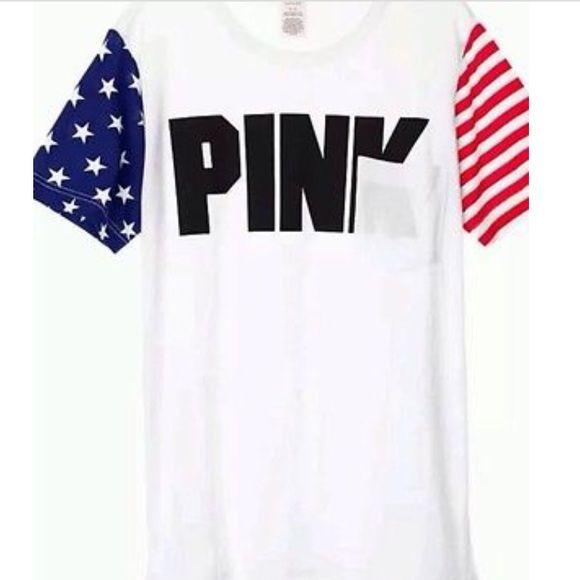 🇺🇸VS PINK CAMPUS Tee AMERICAN FLAG SLEEVES🇺🇸 | vs Pink, Flags ...